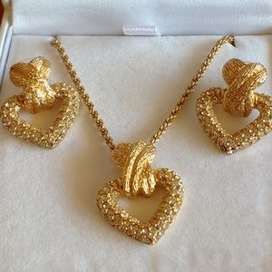 Christian Dior Heart Necklace and Heart Earrings